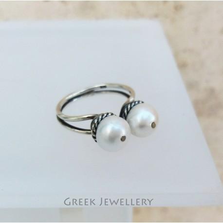 Görög ezüst és gyöngy gyűrű