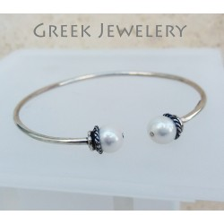 Görög ezüst és gyöngy karperec