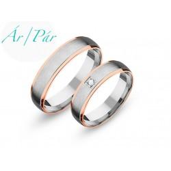 Ezüst és rozé karikagyűrű
