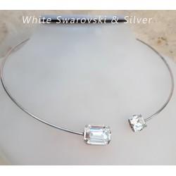 Ezüst és szögletes swarovski nyakpánt