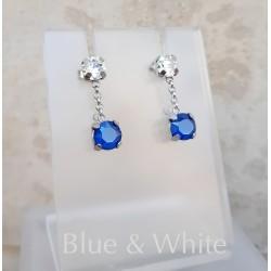 Kék fehér swarovski és ezüst fülbevaló