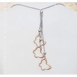 Rozéarany és ezüst lepkék nyaklánc