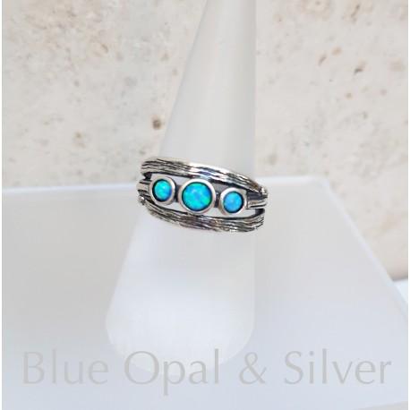 Izraeli kék opál gyűrű