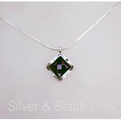 Izraeli ezüst és fekete ónix nyaklánc