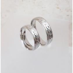 Ezüst fonott mintás karikagyűrű pár