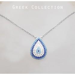 Kék fehér mozaik nyaklánc