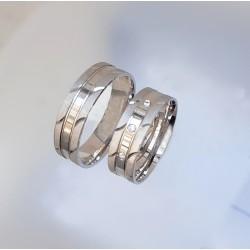 Ezüst matt-fényes karikagyűrű pár