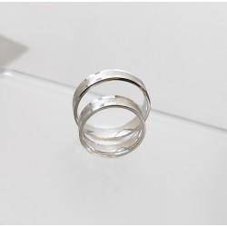 Ezüst fényes matt karikagyűrű pár