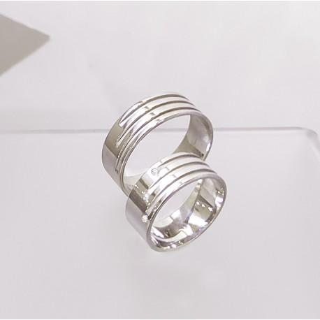Ezüst csíkos karikagyűrű pár