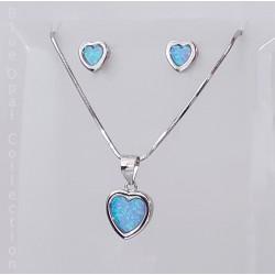 Kék opál és ezüst szív kollekció
