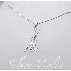 Ezüst és cirkónia hegedű medál