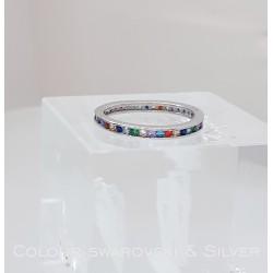 Ezüst gyűrű színes kövekkel