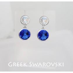 Görög kék és fehér swarovski fülbevaló