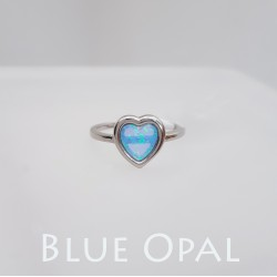Ezüst és kék opál szív gyűrű