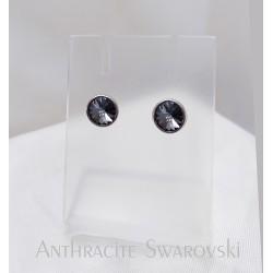 Antracit swarovski és ezüst fülbevaló