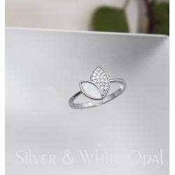 Fehér opál levelek gyűrű