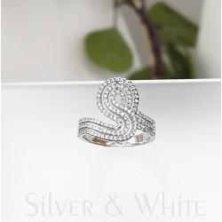 Ezüst és három soros cirkónia gyűrű
