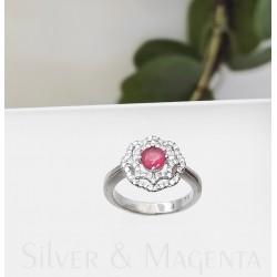 Ezüst és turmalin virág gyűrű
