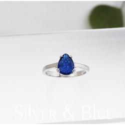 Ezüst kék csepp gyűrű
