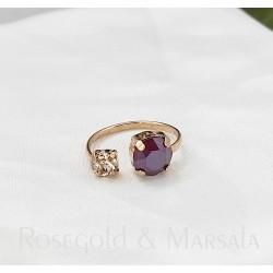Rozéarany és marsala swarovski gyűrű
