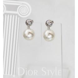 """Ezüst és gyöngy """"Dior Style"""" fülbevaló"""