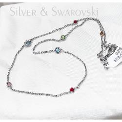 Ezüst és színes swarovski nyaklánc