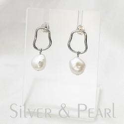 Édesvízi fehér gyöngy és ezüst fülbevaló
