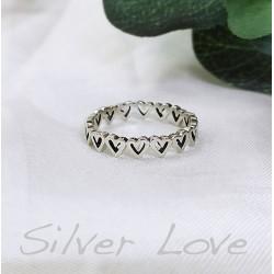 Ezüst szivek gyűrű