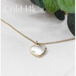 Arany és gyöngyház szív nyaklánc