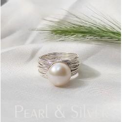 Édesvízi tenyésztett gyöngy és ezüst gyűrű