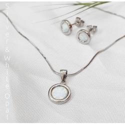 Kis kerek fehér opál és ezüst kollekció