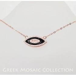 Görög rozéarany és fekete zománc nyaklánc