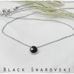 Kis fekete swarovski és ezüst nyaklánc