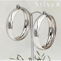 Széles ezüst karika fülbevaló