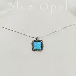 Izraeli  szögletes kék opál nyaklánc